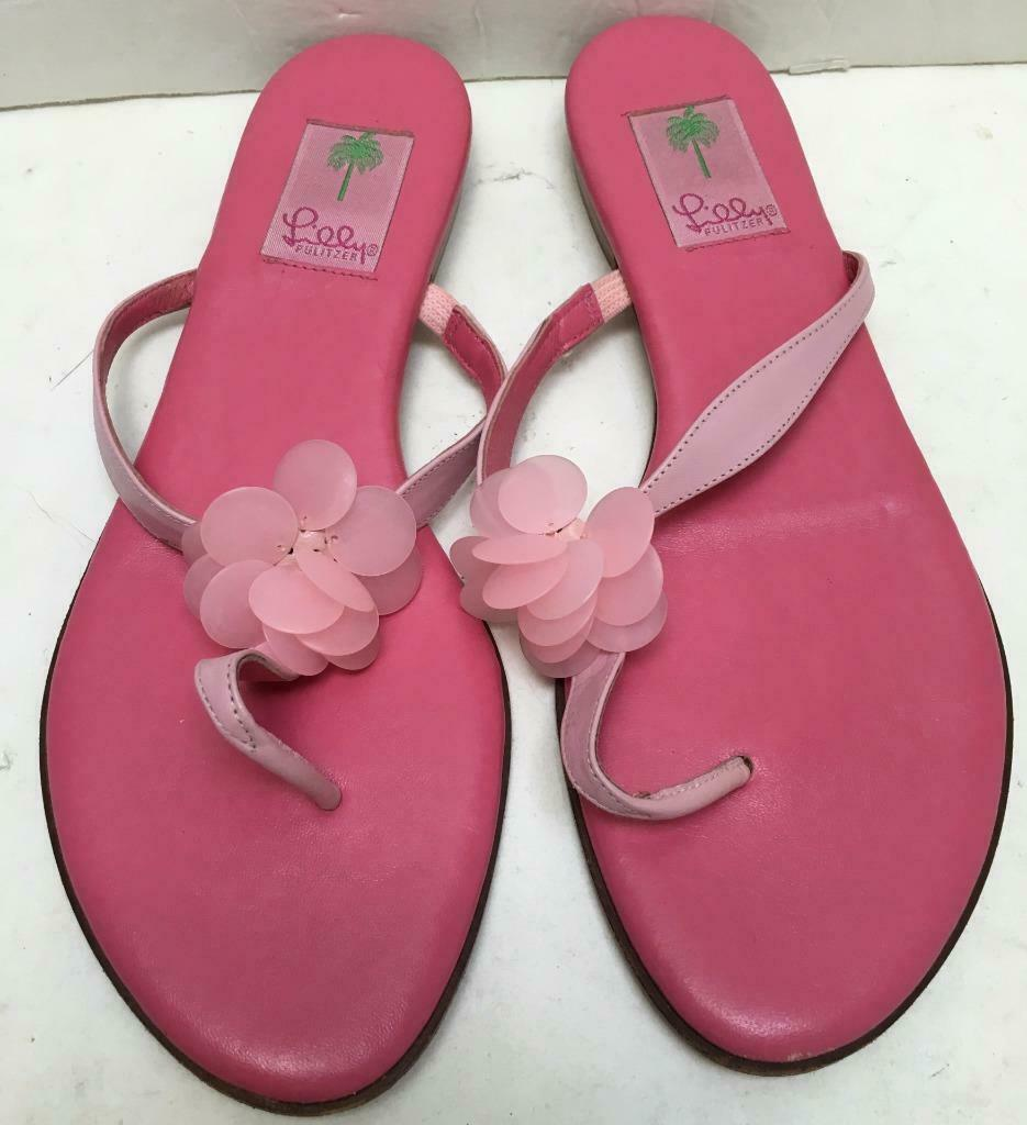 LILLY PULITZER flip flop sandals shoes 9 1 2 pink thongs