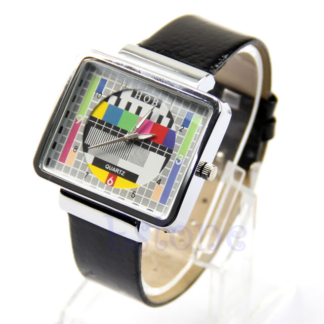 Cool TV Test Screen Square Quartz Leatherette Band Wrist Watch Unisex Watch New