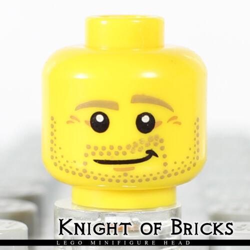 LEGO Minifigure Head YELLOW Male Beard Stubble Dark Tan Eyebrows Lopsided Smile