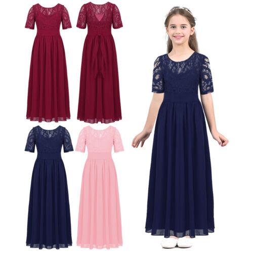 New Lace Short Sleeve Bridesmaid Princess Wedding Girls Dress Party Kids Clothes