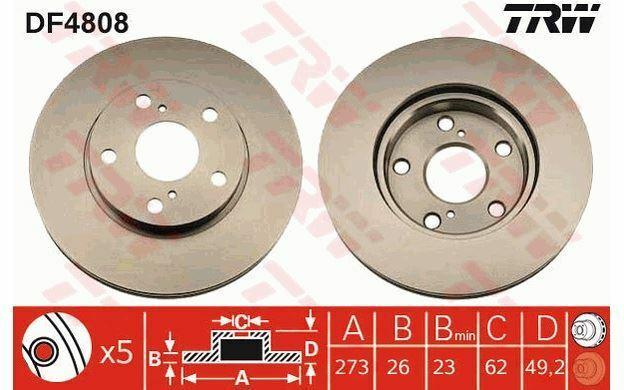2x TRW Disques de Frein Avant Ventilé 273mm pour TOYOTA AURIS DF4808