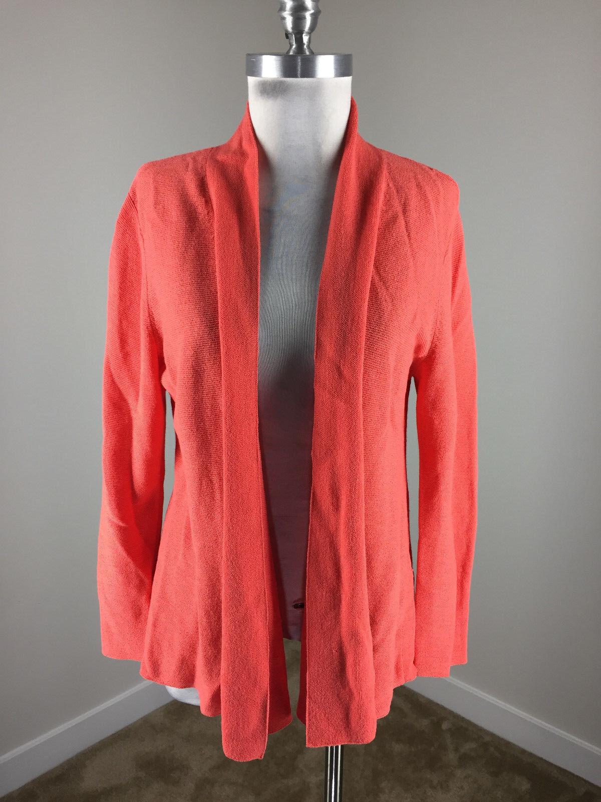 Eileen Fisher L Peach Coral Open drape Cardigan sweater 100% wool