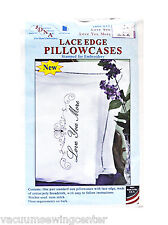 Jack Dempsey Love You Love You More Lace Edge Pillowcases