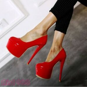 Ladies Red Black High Heels Stilettos Platform Shoes Patent ...