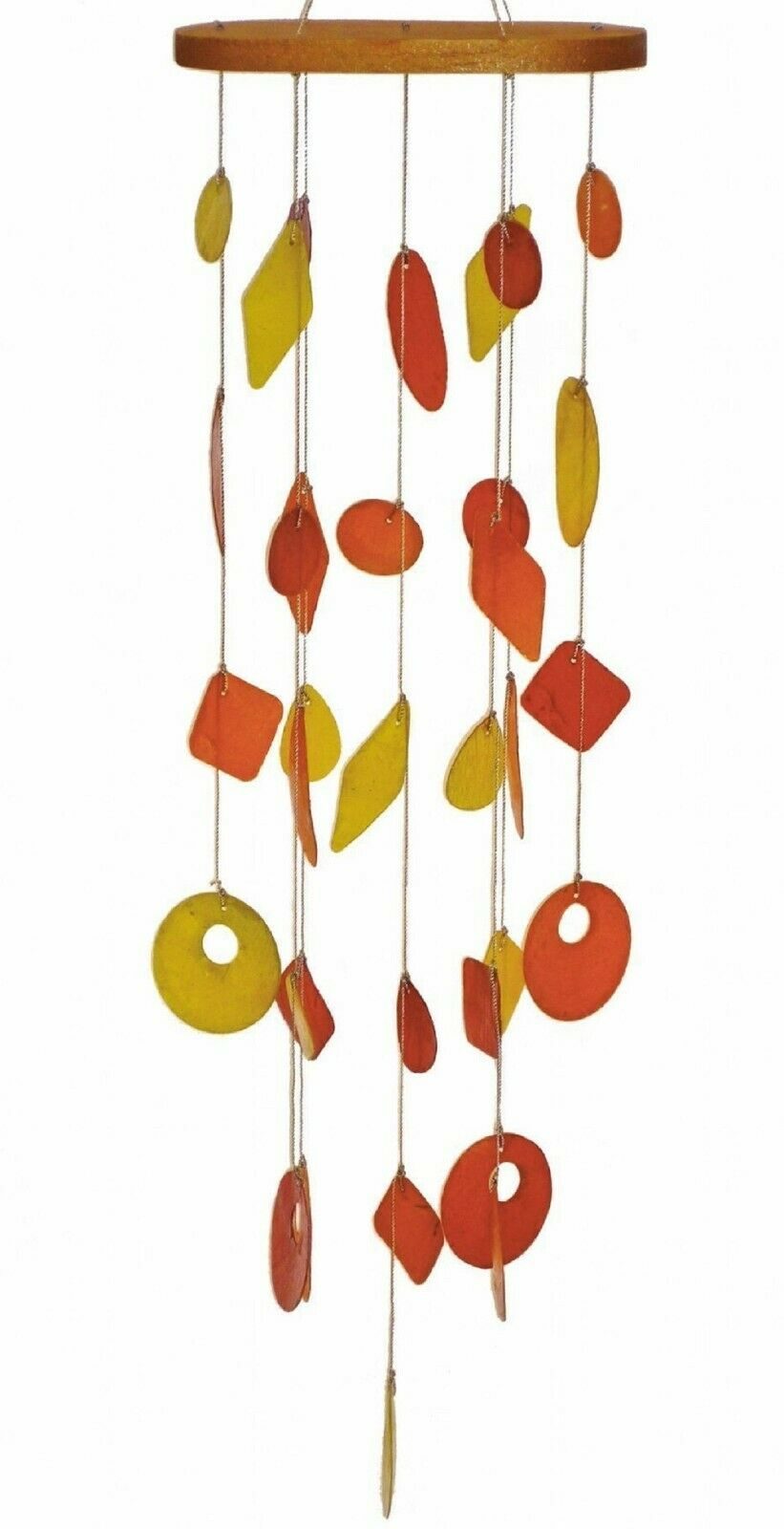 Capiz Shell Wind Chime Patio Garden Decor Window Suncatcher Orange Yellow