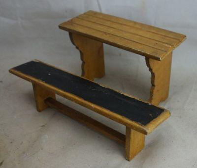 Alter Schreibtisch Schultisch Bank Schulbank Puppenstube