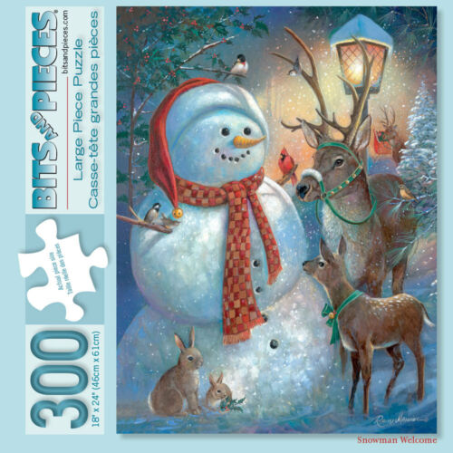 Bits and Pieces 300 Piece Puzzle-Snowman Welcome-by artist Ruane Manning