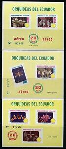 Ecuador-1980-ORCHIDEE-ORCHIDS-FIORI-FLOWERS-FIORI-Blossoms-blocco-100-102-MNH