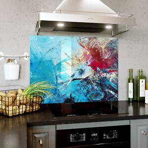 Rouge Bleu Abstrait Couleurs Verre Splashback Cuisine & Salle De Bains Toute Taille 0447-afficher Le Titre D'origine
