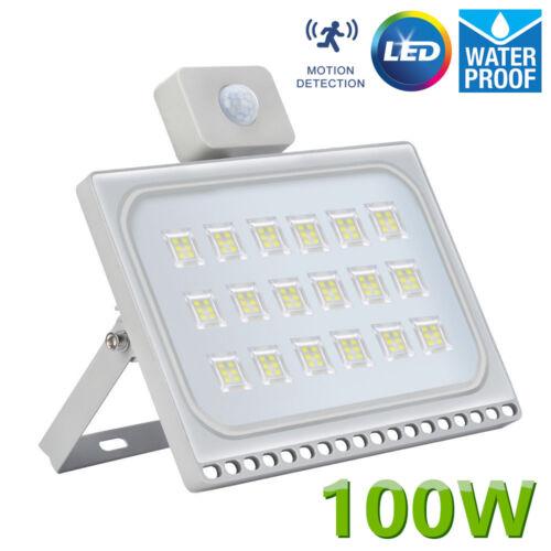 Bright 100W LED Floodlight Spot Light Security Lamp + PIR Sensor Outdoor Garden