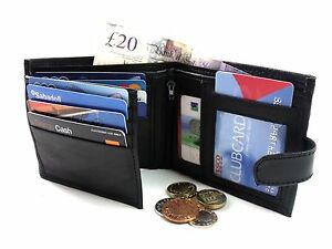 Mens Rfid Protected Genuine Black Leather Holds 12 Credit Cards Wallet Purse