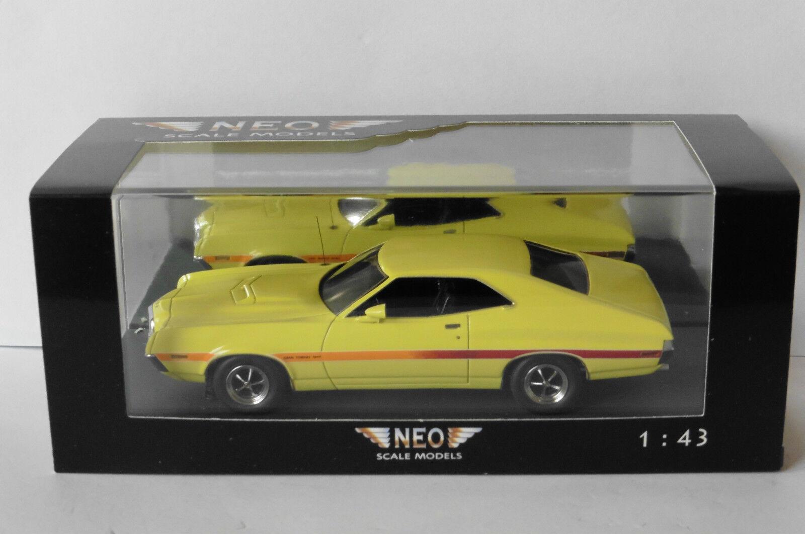 FORD GRAN TORINO COUPE SPORT 1972 giallo NEO 44741 1 43 giallo giallo USA CAR LHD