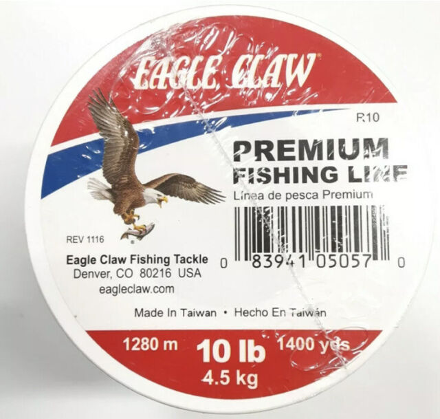 2 Rolls Eagle Claw Premium 10 LB Test Fishing Line 1400 Yards Each Roll for sale online