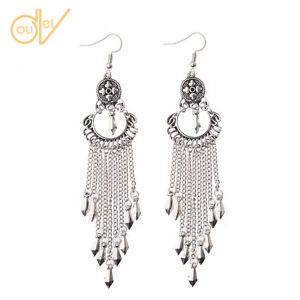 Hot-Vintage-Bohemian-Boho-Style-Silver-Long-Tassel-Drop-Dangle-Women-039-s-Earrings