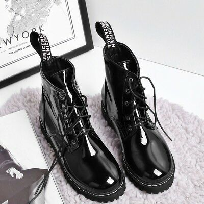 Womens Lace Up Patent Leather Combat