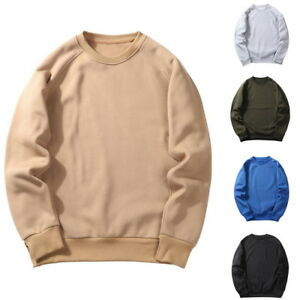 Fashion Men Solid Sweatshirt Tops Long Sleeve Round neck Pullover Hip Hop S-XXL