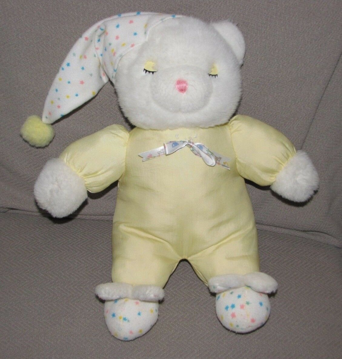 VTG STUFFED PLUSH TEDDY BEAR bianca  NYLON SLEEPY EYE NIGHT CAP HAT BUNNY SLIPPER
