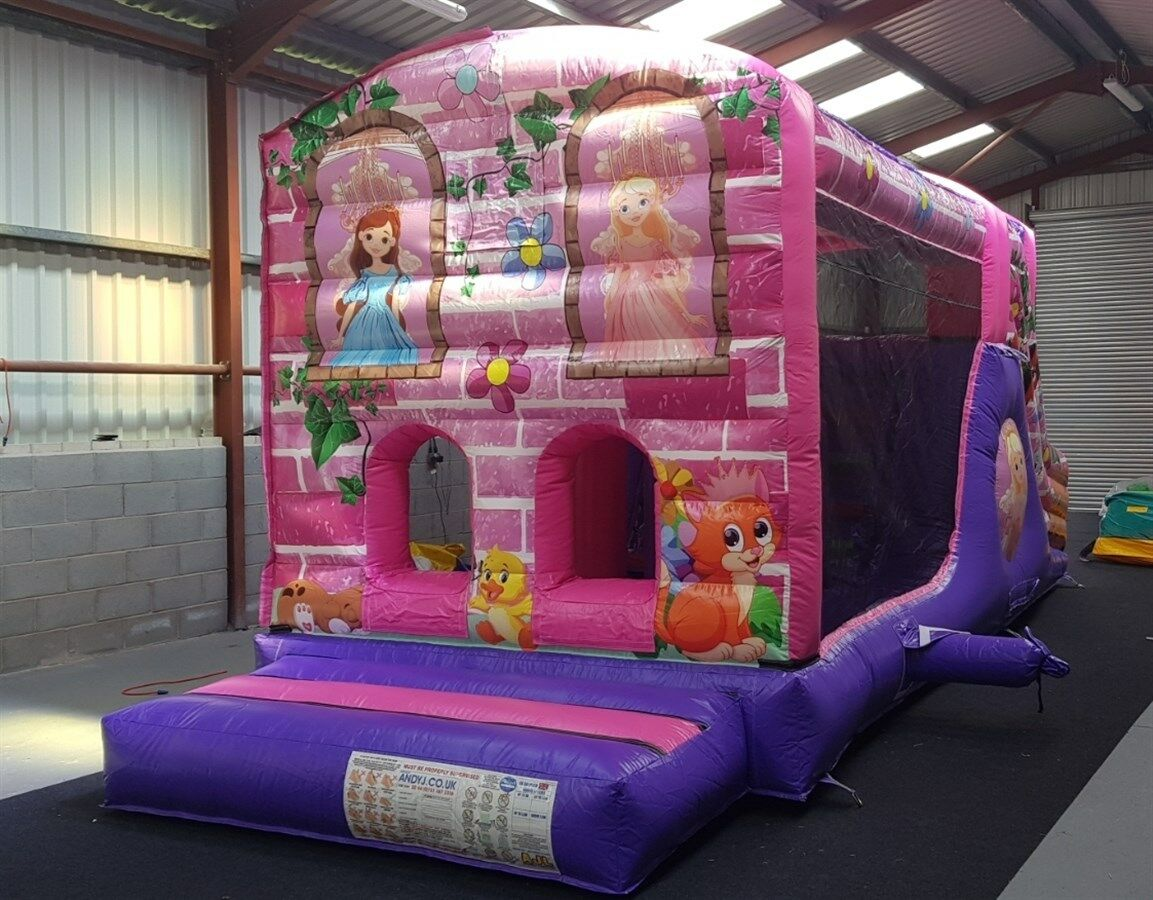 Commercial 10ft x 29ft Princess Obstacle Course Bouncy Castle