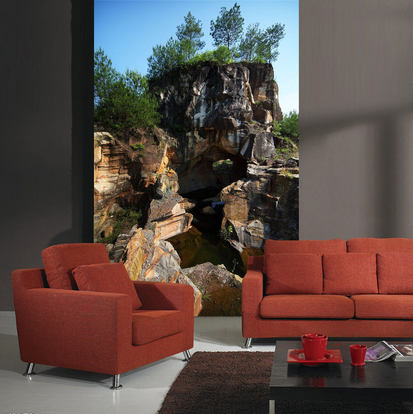 3D Stone Mountains 624 WallPaper Murals Wall Print Decal Wall Deco AJ WALLPAPER