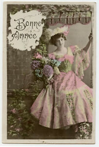 c 1910 Vintage BEAUTIFUL YOUNG LADY Flowers Beauty tinted French photo postcard