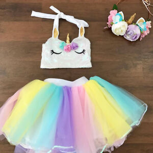 Image Is Loading Unicorn Rainbow Tutu Skirt Baby Girls 1st Birthday