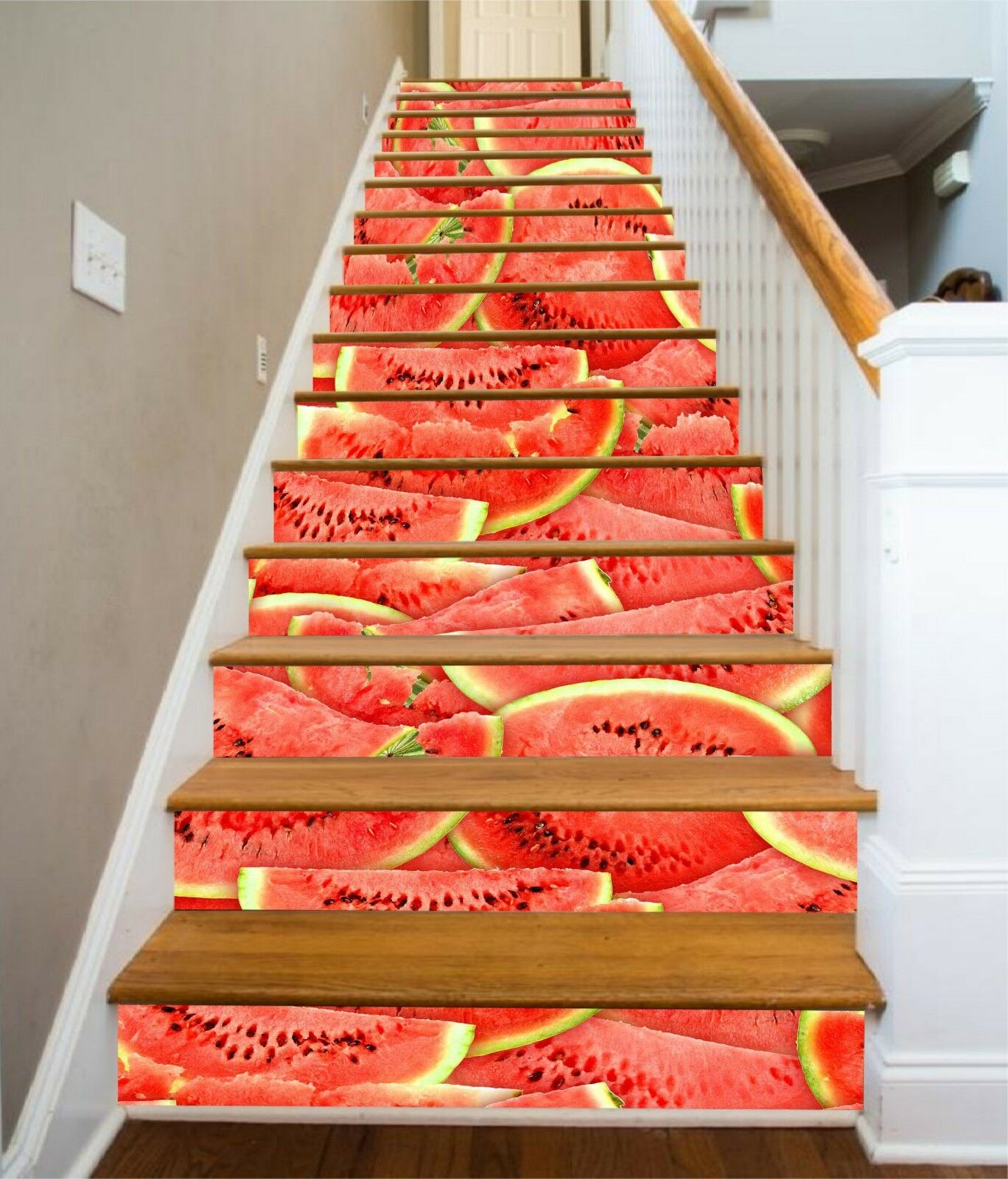3D Watermelon Stair Risers Decoration Photo Mural Vinyl Decal Wallpaper CA