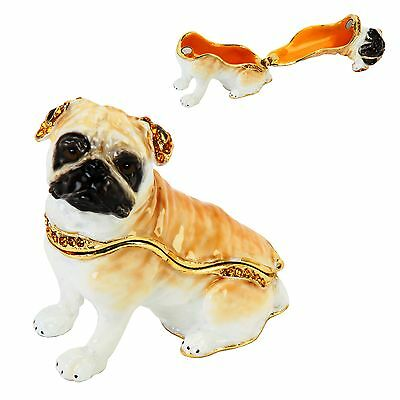 PUG DOG, Puppy  TRINKET BOX, Figurine, Gift, Ornament, Collectable,