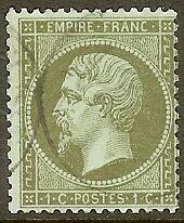 FRANCE-STAMP-TIMBRE-N-19-034-NAPOLEON-III-1c-OLIVE-DENTELE-1862-034-OBLITERE-TB