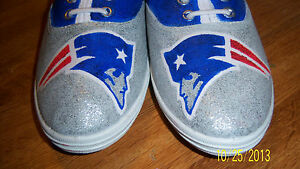 06145d36 Details about Hand Painted Bling Bling NFL New England Patriots Tennis  Shoes Sneakers