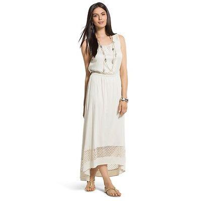 Chico's NEW Cement Lace Detail Ariel High-Low Maxi Dress Women's $119