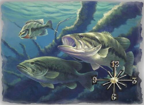 Black Bass Fishing Wall Clock  Makes Great Gifts