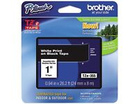 Brother P-touch Tz Series Lettering Tape, 1w, White On Black on sale