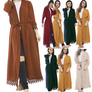 women-ladies-Crepe-Pleat-long-kimono-open-abaya-maxi-style-lace-belted-cardigan