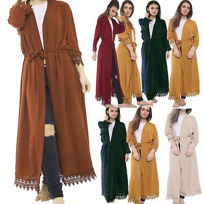 Ehrlich Women Ladies Crepe Pleat Long Kimono/open Abaya/maxi Style/lace Belted Cardigan Feines Handwerk