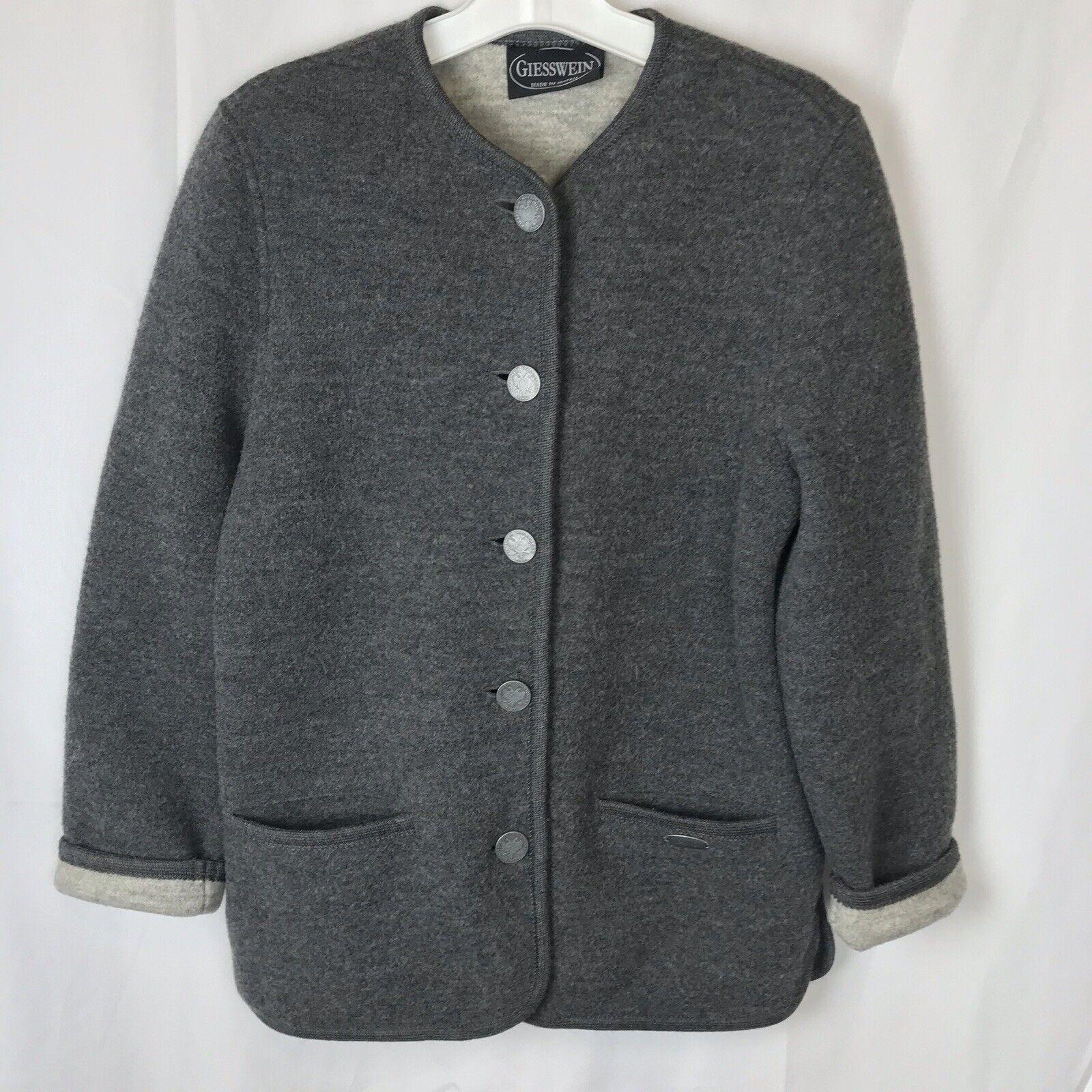 Giesswein Austria 100% Wool Button Front Cardigan Sweater Jacket damen 38 Large