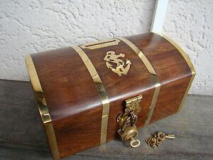 superbe Tirelire coffre du capitaine en bois et laiton neuve longueur 14cm UuxGPTfj-07212946-880086735