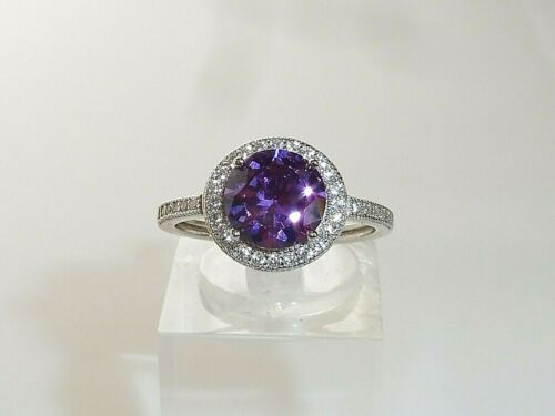 Ladies 925 Sterling Silver 1 Carat Purple Amethyst /& White Sapphire Cluster Ring