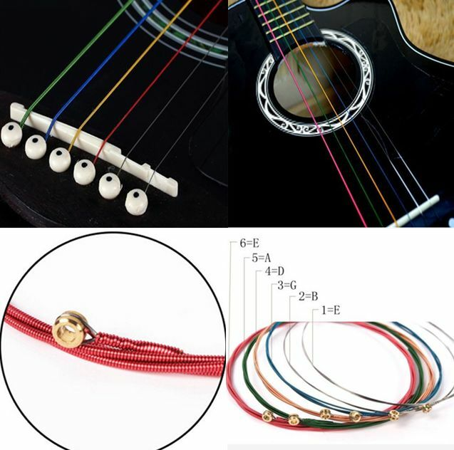 Hot Multi Colors Charm Acoustic Guitar Strings Stainless Steel 1 SET 6 Rainbow E