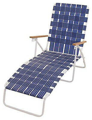 Rio Brands BY405-0138 Web Chaise Lounge White Steel Frame /& Blue Web Hi-Back