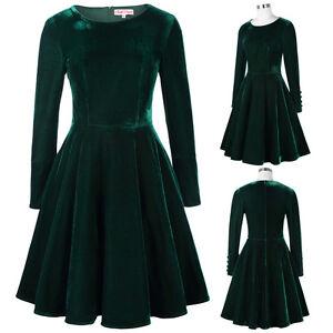 BP-Retro-Vintage-Winter-Long-Sleeve-Crew-Neck-Velvet-Swing-Dress
