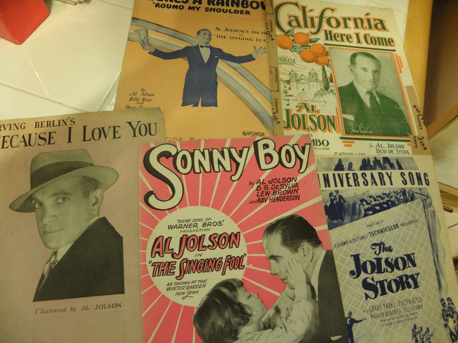 Al Jolson Vintage Sheet Music Lot of 5 1924-1946 California Here I Come