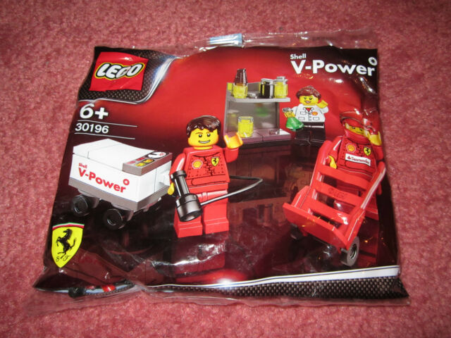 LEGO RACERS FERRARI PIT CREW FORMULA 1 SHELL V POWER RARE -30196-3 MINI FIGS-NEW