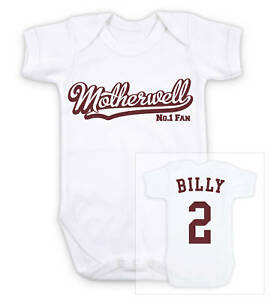 Any team//colour MOTHERWELL Football Baby ROMPER Sleep Suit Personalised Gift