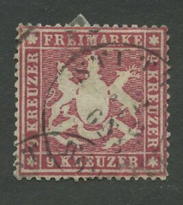 Old-Germany-Wurttemberg-1861-Mi-19y-B-Postmarked-Sh-scan-2
