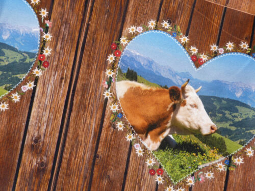 Kissenstoff Öko Tex 3x Panel Kissen Stoff Baumwolle Holz Kuh Kühe Bretter 9184