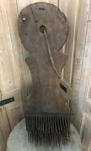 Planche-Peigne-a-Carder-Ancien-XIXeme-Filature-Rouet-Art-Populaire-Outil