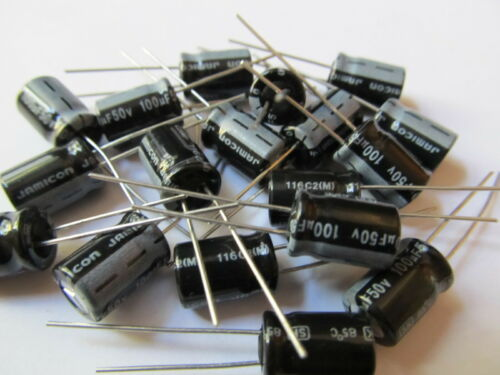 20pcs Radial Electrolytic Capacitor 100uF 50V 85°C Pitch 3.5mm 8x11mm Jamicon