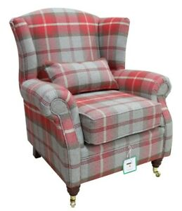 Wing-Chair-Fireside-High-Back-Armchair-Balmoral-Cherry-Red-Check-Checked-PS