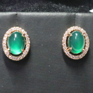 Antique-Vintage-Green-Jade-Diamond-Earrings-14k-Gold-Plated-Women-Jewelry