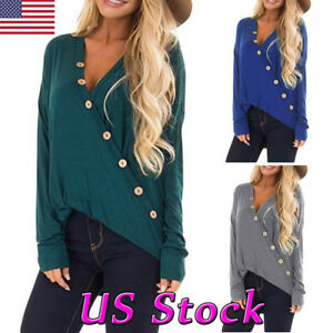 New-Women-Wrap-V-Neck-Loose-Top-Ladies-Button-Long-Sleeve-Casual-Shirt-Blouse-US
